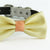 Pale yellow bow tie collar Leather collar dog of honor dog ring bearer Puppy XS to XXL collar and bow tie, adjustable, boy dog collar