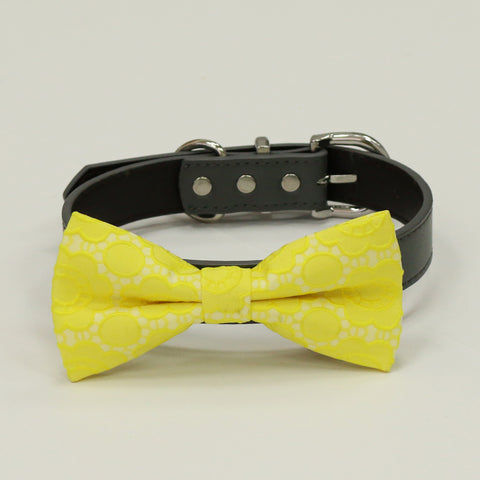 Yellow Floral dog bow tie collar, Spring wedding, bow attached to collar