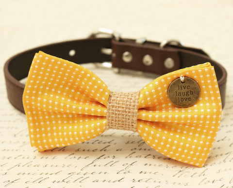 Yellow Dog Bow Tie attached to collar, Burlap, Pet wedding, Cat Bow tie