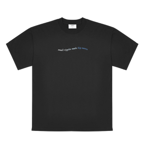 Ripple's 100% Cotton Small Ripples Make Big Waves Black T-Shirt