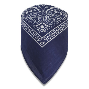 Fashion Paisley Print Bandana in 100% cotton-Navy