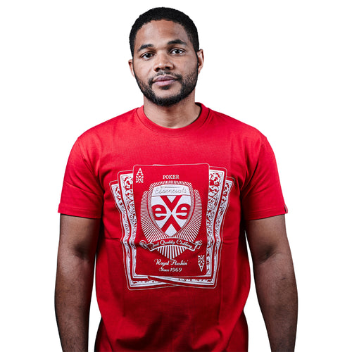 exetees Royal Flush T-Shirts in 100% cotton red