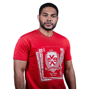 exetees Royal Flush short sleeve T-Shirts in 100% cotton red