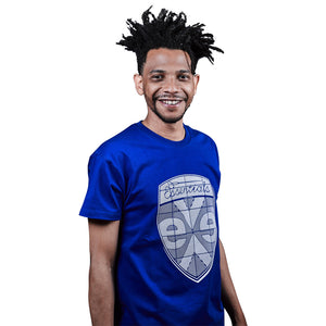 exe 100% cotton Badge Logo T-shirts-Royal blue