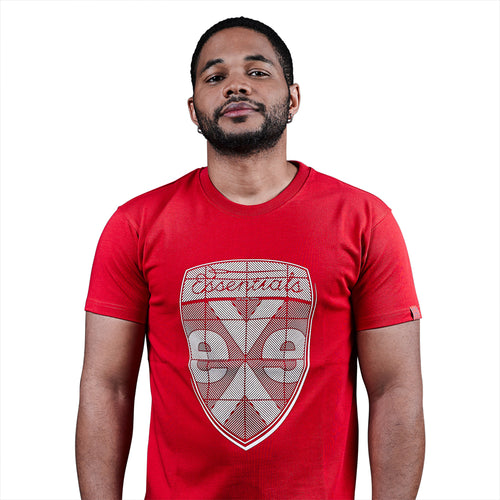 exetees Shield T-Shirts in 100% cotton red