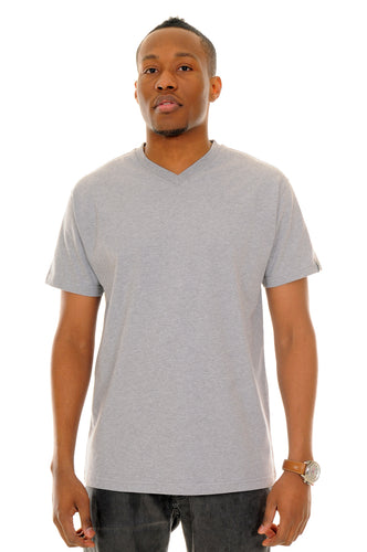 exetees plain regular sized V-neck T-Shirts 100% cotton grey