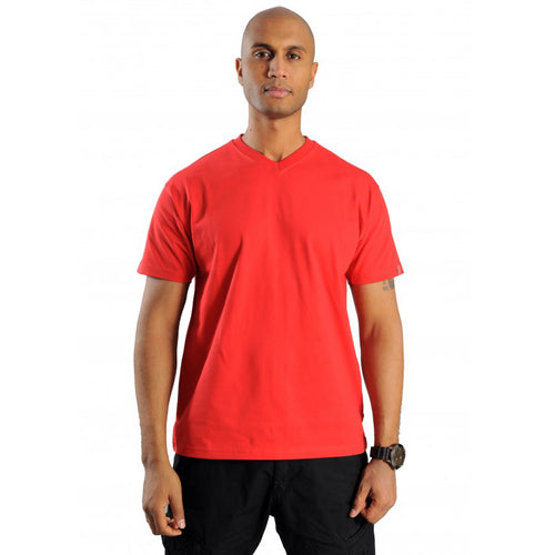 exetees plain regular sized V-neck T-Shirts 100% cotton red