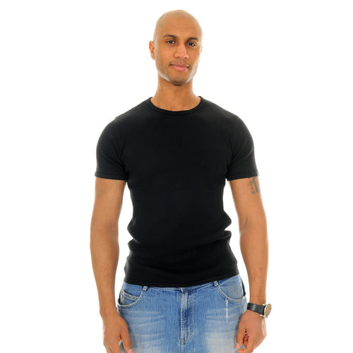 exetees 2x2 rib Fabric, 100% cotton fitted top-Black