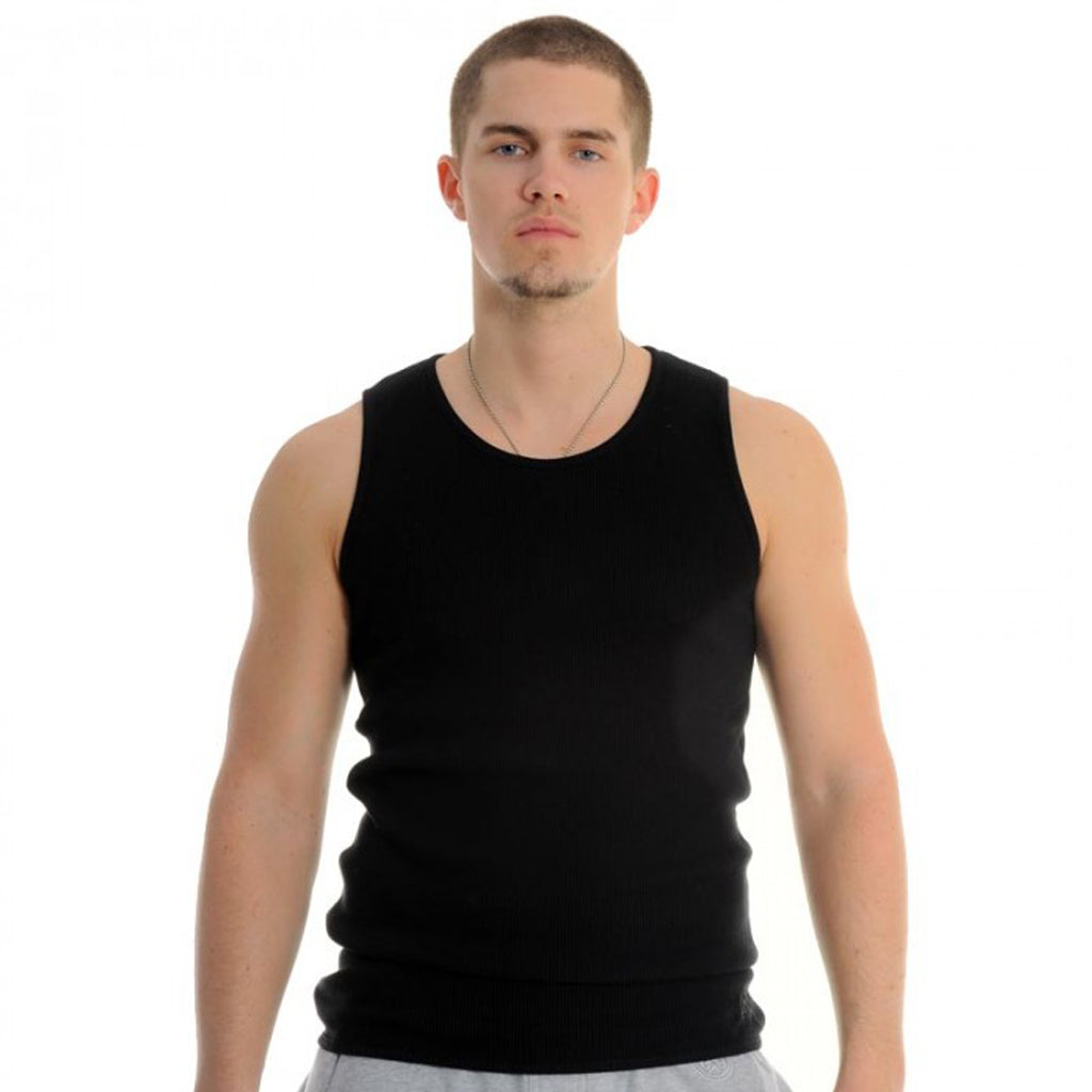 exetees 2x2 rib fabric 100% cotton tank top black
