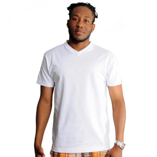 exetees plain regular sized V-neck T-Shirts 100% cotton white