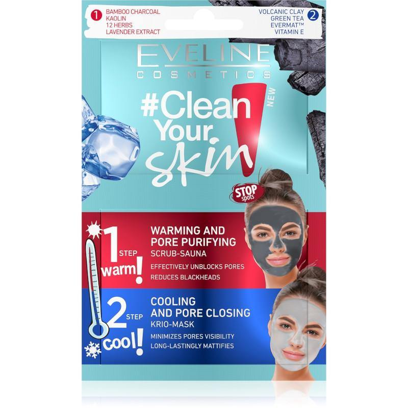 ايفلين مقشر-ساونا + قناع-كريو كلير يور اسكين - 2X5ML | EVELINE CLEAN YOUR SKIN SCRUB-SAUNA + KRIO-MASK - 2X5ML - DarBeauty