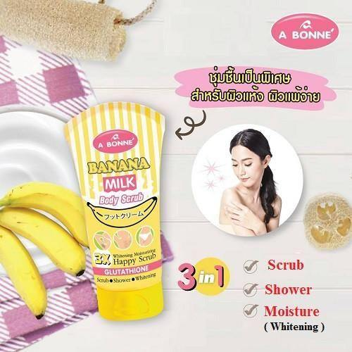 مقشر ملح الحليب وقشر الموز 250g | Banana Body Milk Happy Scrub Shower Whitening Moisturizing 250g - sooqaman