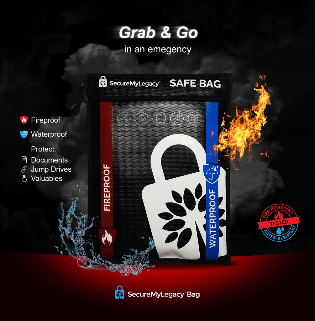 Secure My Legacy Waterproof Fireproof Bag for Documents, Jewelry, Money, Devices, Photos, Passports