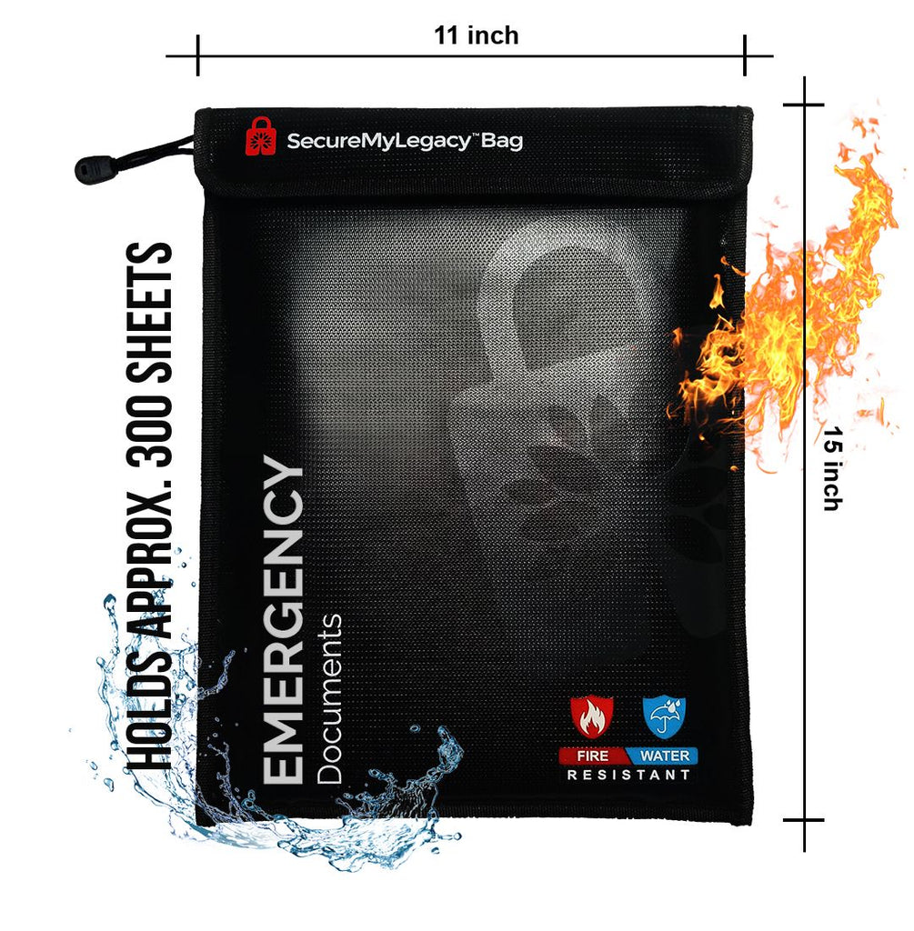 Secure My Legacy Fireproof & Water-Resistant Document Bag for Emergency Documents (Blk 11 in x 15 in)