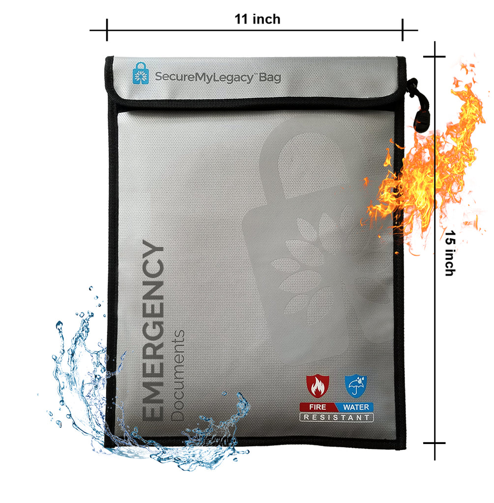 "Secure My Legacy Fireproof & Water-Resistant Document Bag for Emergency Documents (11"" x 15"")"