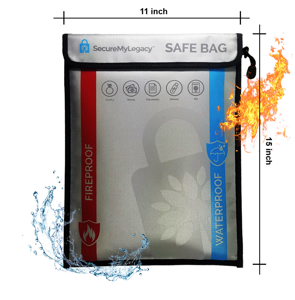 11 x 15 Waterproof & Fireproof Bag - Protect Documents, Jewelry, Money, Devices, Photos, Passports