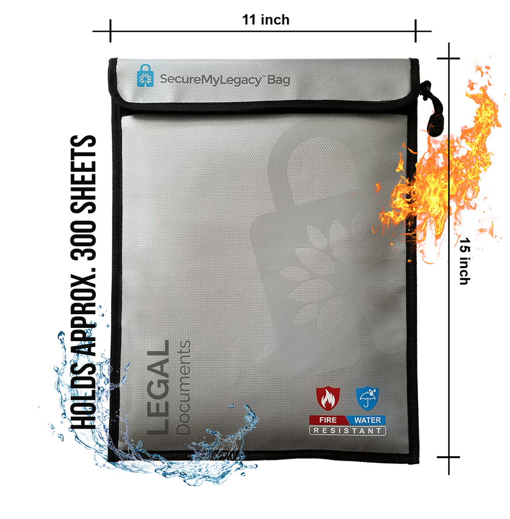 Secure My Legacy Waterproof & Fireproof Document Bag for Legal Documents (11 in x 15 in)