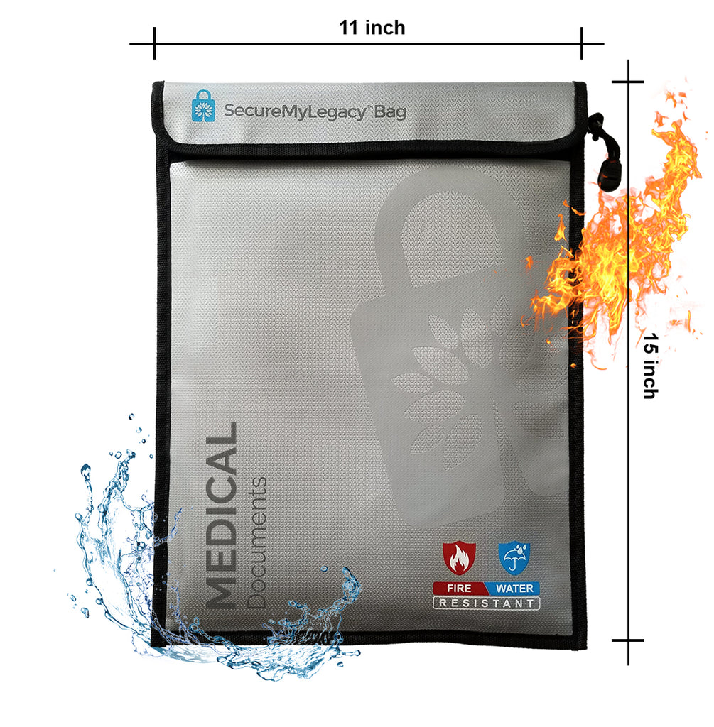 Secure My Legacy Waterproof & Fireproof Document Bag for Medical Documents (11 in x 15 in)