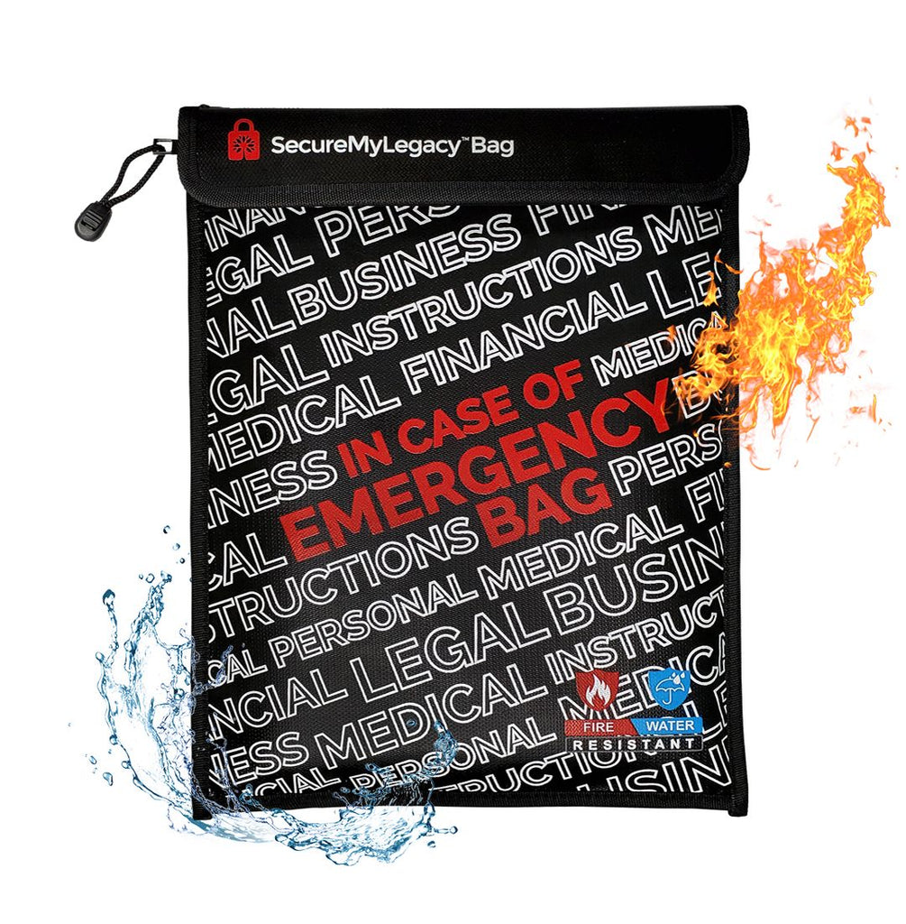 Secure My Legacy Fireproof & Water-Resistant Document Bag for In Case of Emergency Documents (11 in x 15 in)