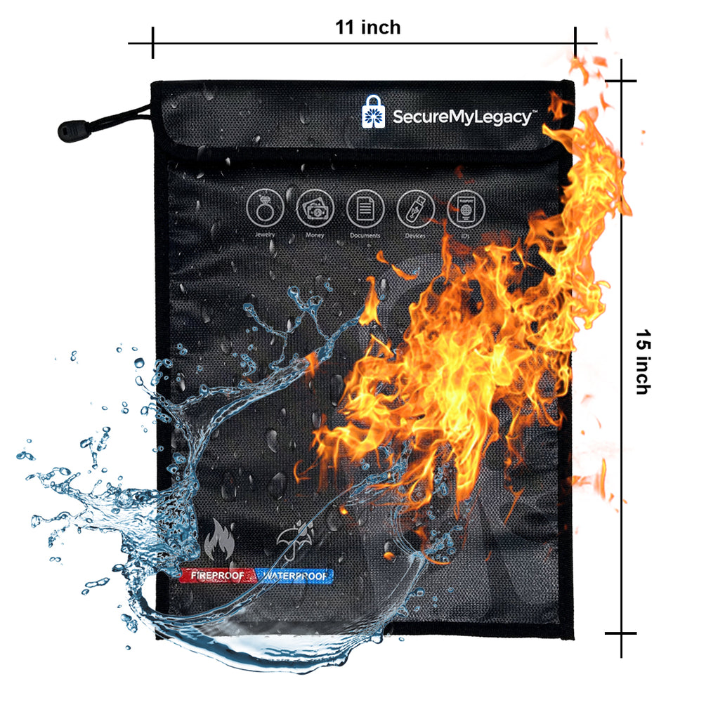 "11"" x 15"" Fireproof & Water-Resistant Bag - Protect Documents, Jewelry, Money, Devices, Photos, Passports"