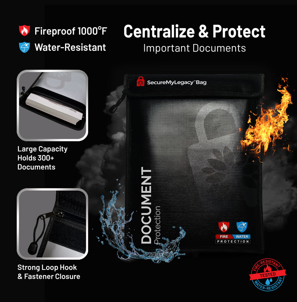 Secure My Legacy Fireproof & Water-Resistant Document Bag (Blk 11 in x 15 in)