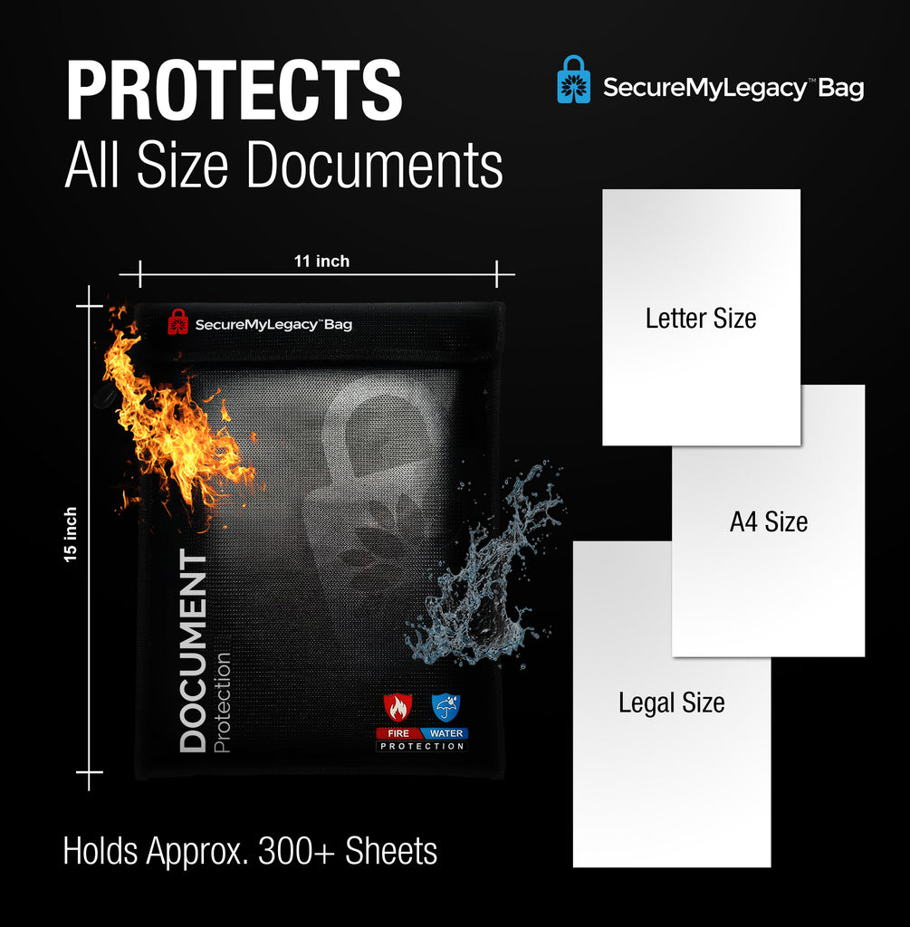 Secure My Legacy Waterproof & Fireproof Document Bag for Important Documents (Blk 11 in x 15 in)