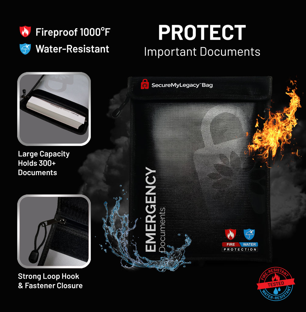 Secure My Legacy Fireproof Document Bag + Workbook (Black)