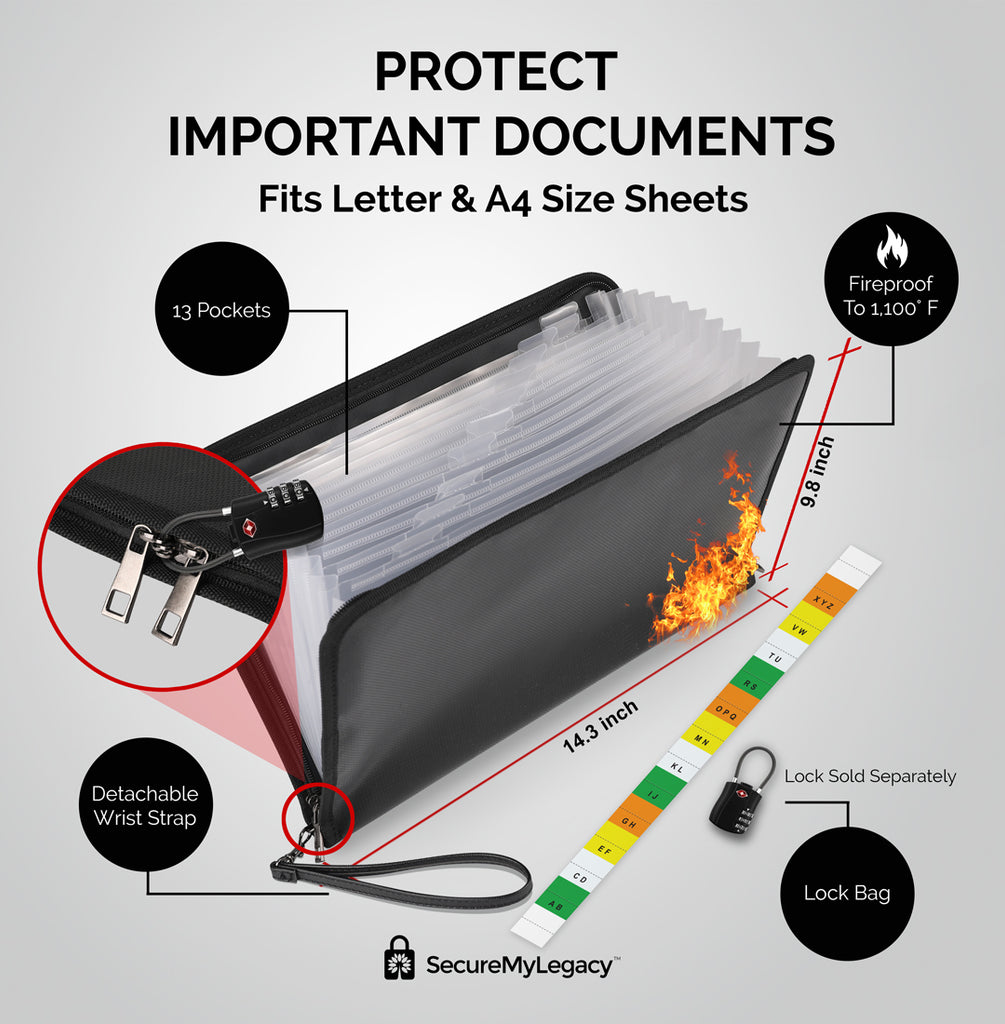 Expandable 13 Pocket  Fireproof Document Bag