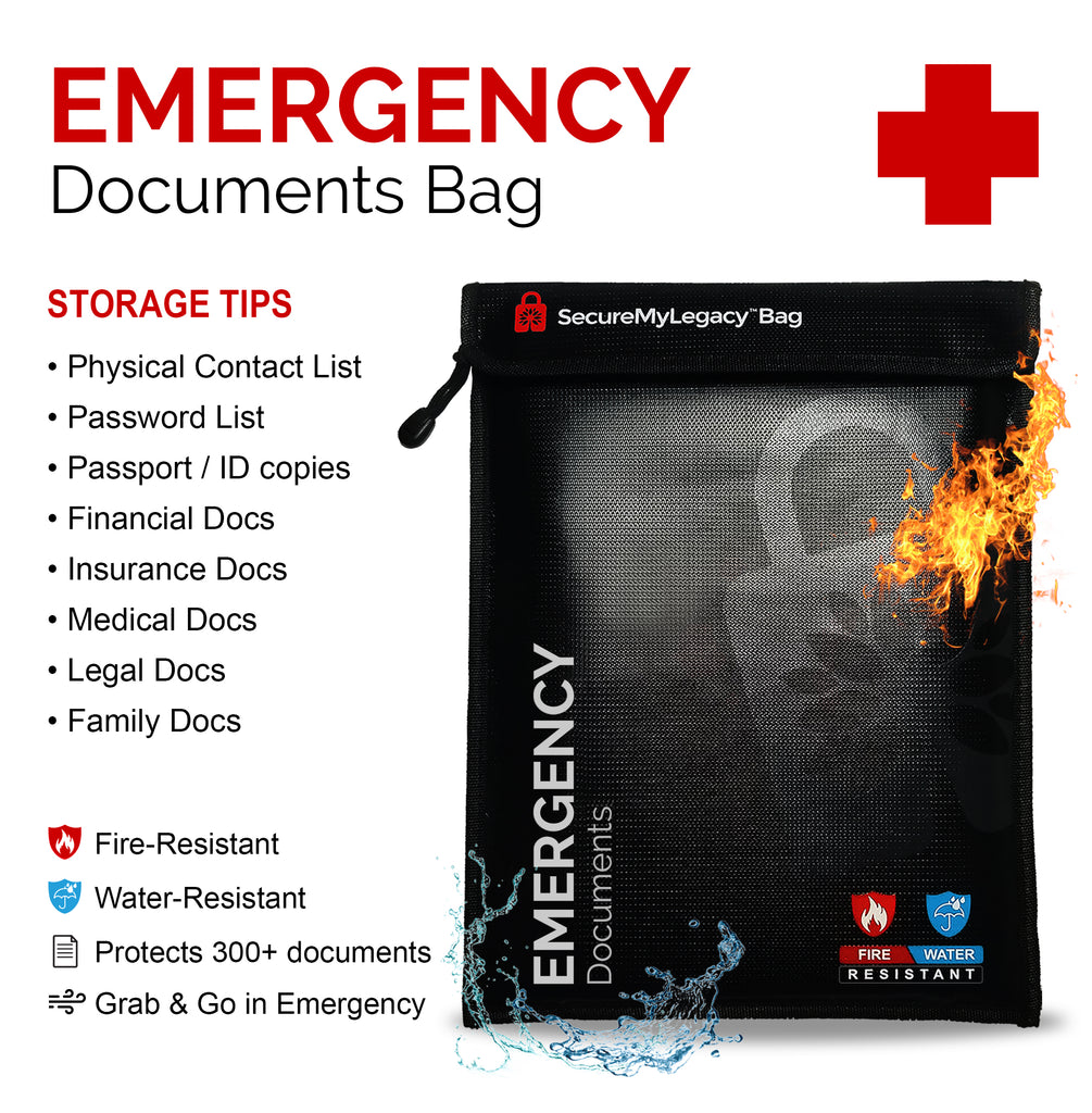 Secure My Legacy Fireproof Bag + Workbook (White)