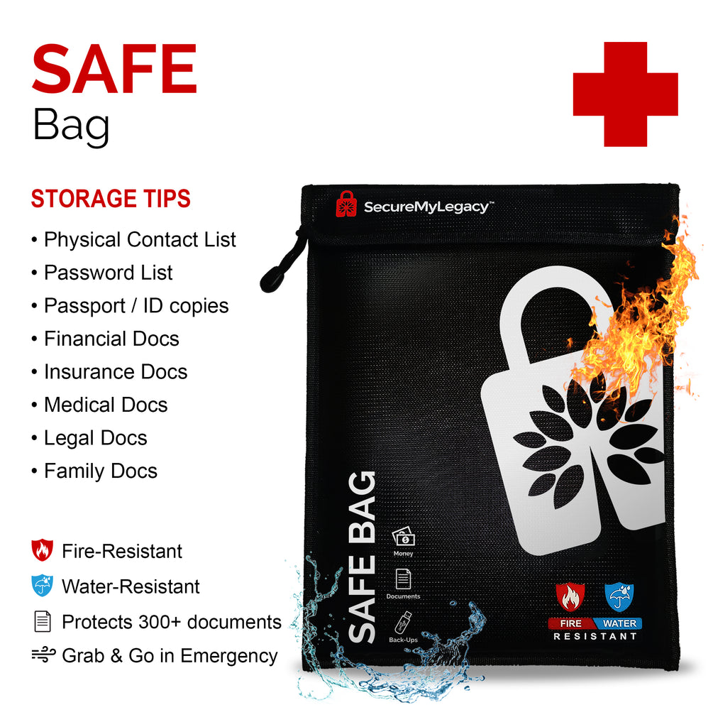 Secure My Legacy 11 x 15 Water / Fire-Resistant Bag - Protect Documents & Valuables