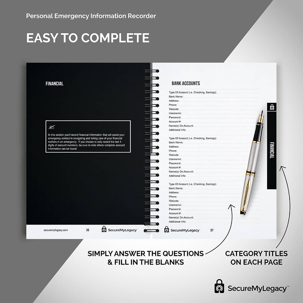 Secure My Legacy Fireproof Bag + Planner + Blank 4GB Drive Pack