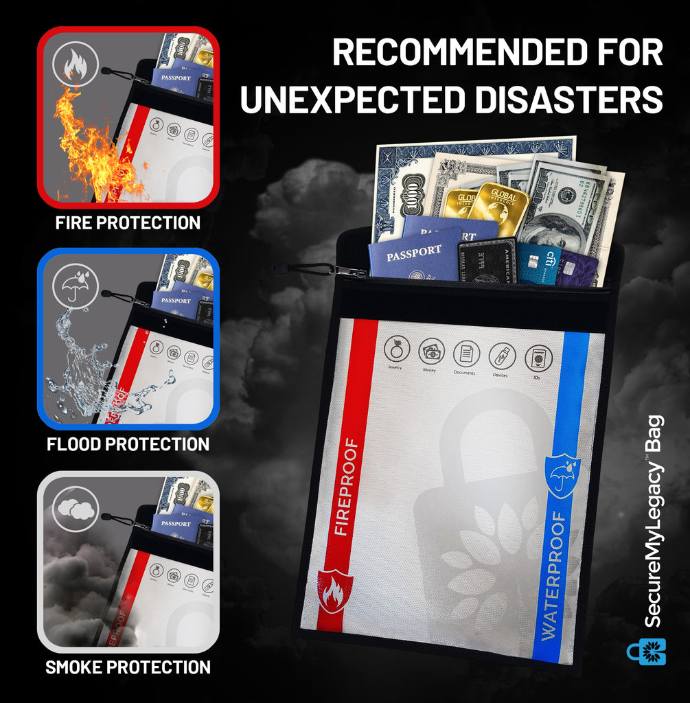 Waterproof & Fireproof Bag - Protect Documents, Jewelry, Money, Devices, Photos, Passports