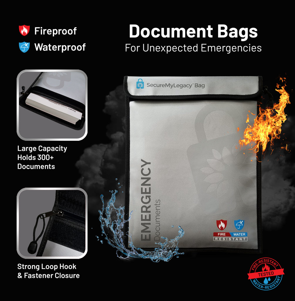 Secure My Legacy Waterproof & Fireproof Document Bag for Emergency Documents (11 in x 15 in)
