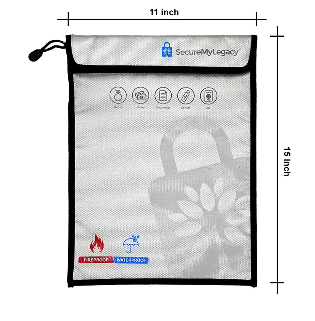 11 x 15 Fireproof & Waterproof Bag - Protect Documents, Jewelry, Money, Devices, Photos, Passports