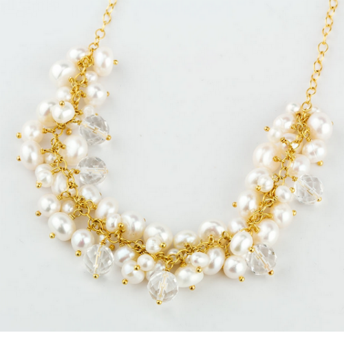 Pearl Cluster Necklace - Velvetblu Jewelry