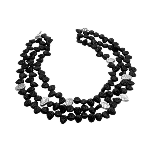 Three Thread Black Mud Necklace (Barro Negro) - Velvetblu Jewelry