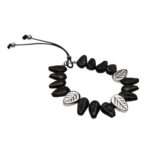 Black Mud Leaves Bracelet (Barro Negro) - Velvetblu Jewelry