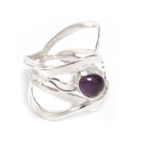 Amethyst band ring, 'Lyrical' - Velvetblu Jewelry