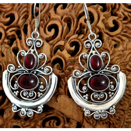 Garnet dangle earrings, 'Arabesques' - Velvetblu Jewelry