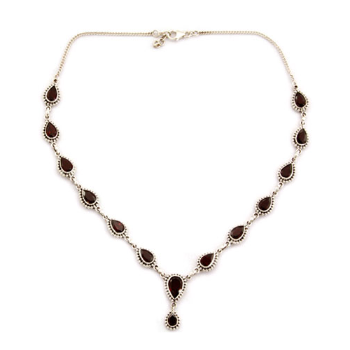 Garnet Y-necklace, 'Halo of Beauty' - Velvetblu Jewelry