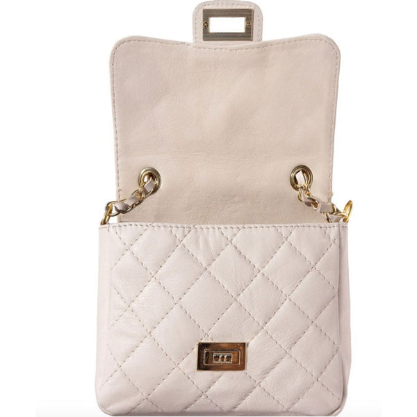 Open quilted leather bag