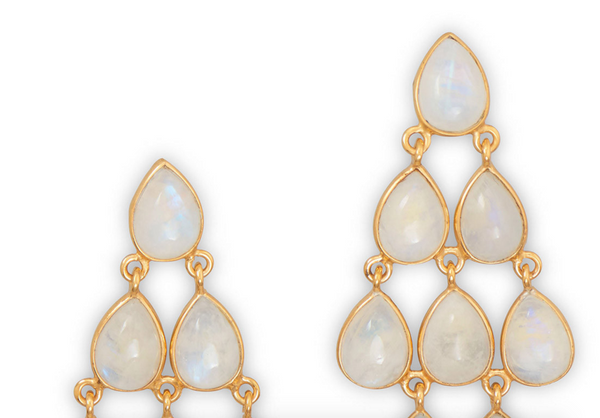 Gold Plated Rainbow Moonstone Chandelier Earrings - Velvetblu Jewelry