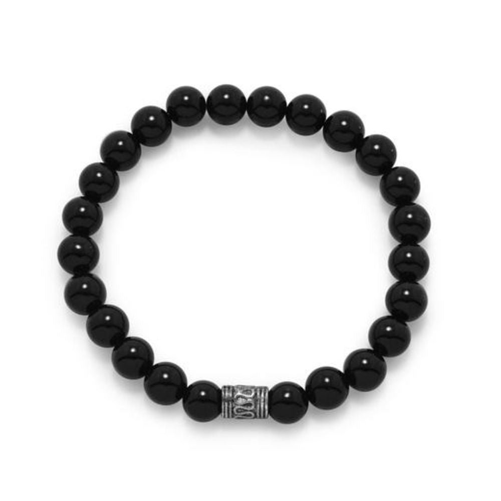 Black Onyx Stretch Bracelet - Velvetblu Jewelry