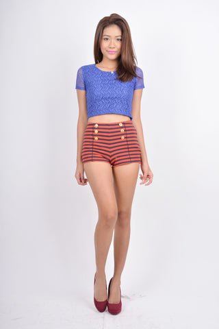 Mae Cropped Top in blue