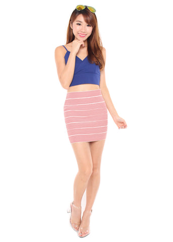 Velia Stripe Skirt (Red)