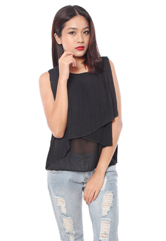 Roswell Pleated Top (Black)