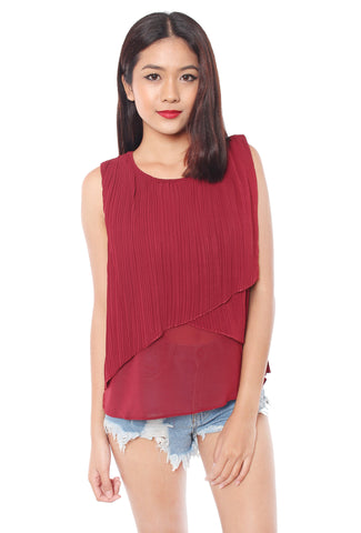 Roswell Pleated Top (Wine)