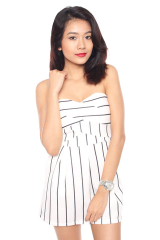 Tionna Stripes Playsuit (White)