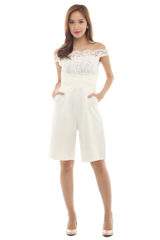 Roisin Culottes Playsuit (White)