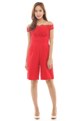 Roisin Culottes Playsuit (Red)